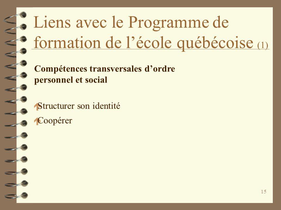 15 Liens avec le Programme de formation de l'école québécoise (1) Compétences transversales d'ordre personnel et social é Structurer son identité é Co