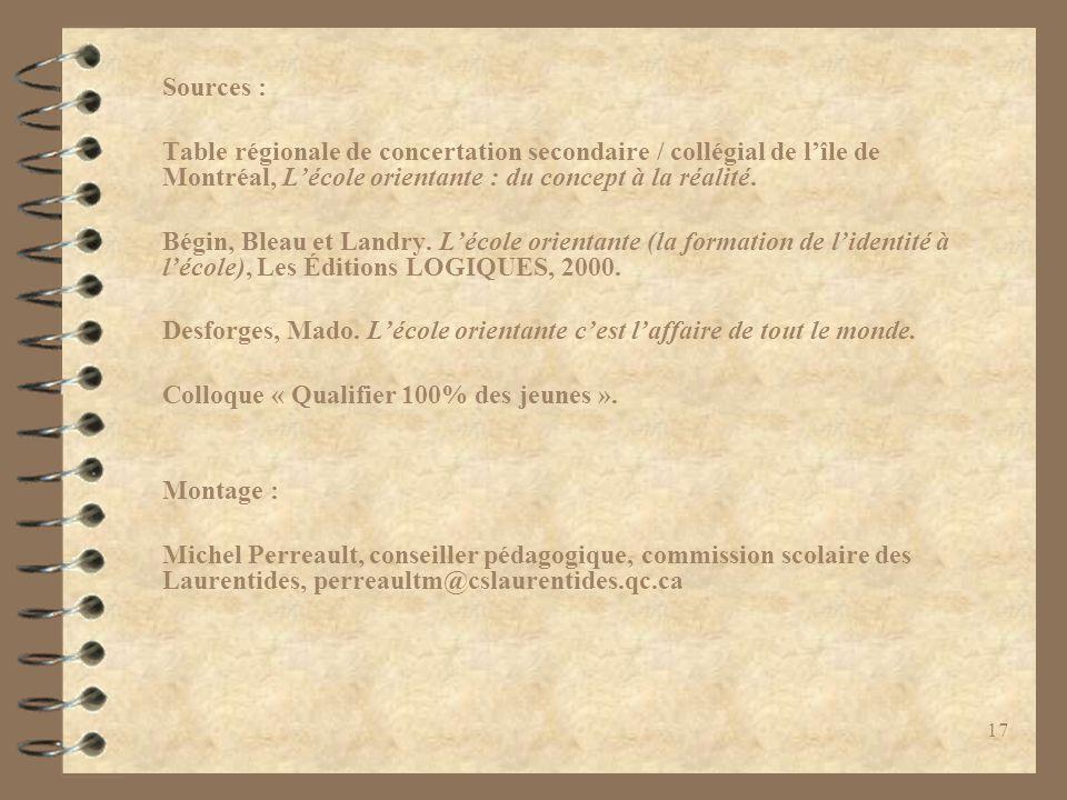 17 Sources : Table régionale de concertation secondaire / collégial de l'île de Montréal, L'école orientante : du concept à la réalité. Bégin, Bleau e