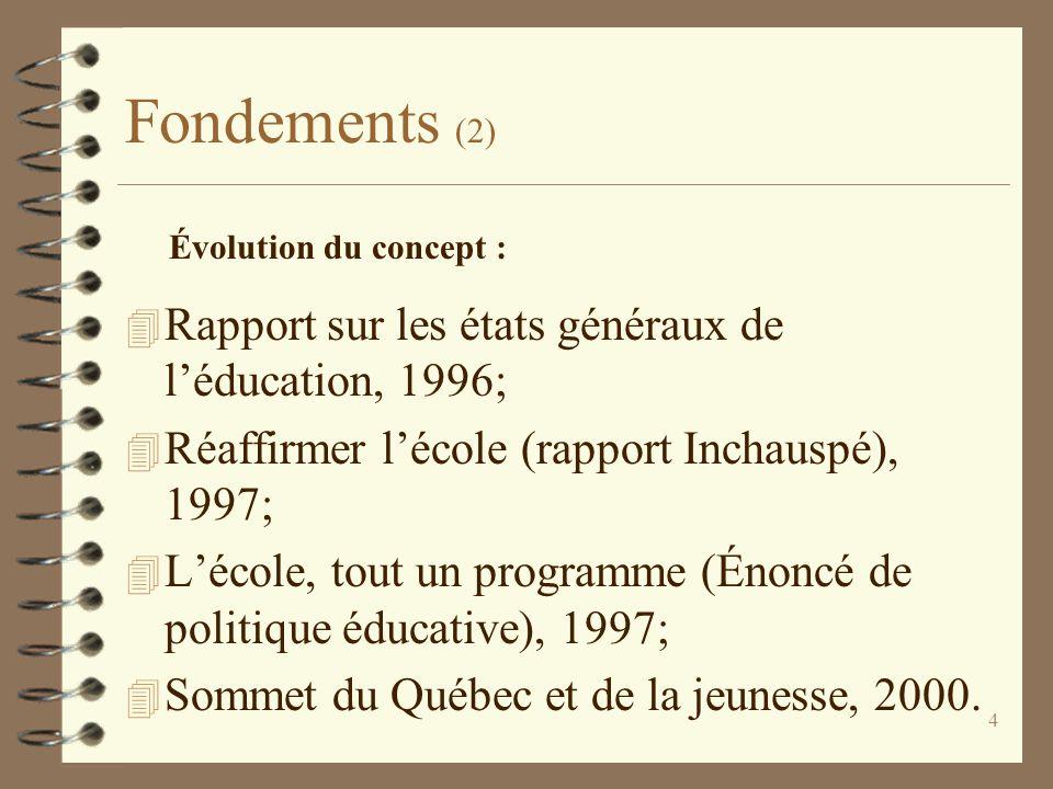 4 Fondements (2) 4 Rapport sur les états généraux de l'éducation, 1996; 4 Réaffirmer l'école (rapport Inchauspé), 1997; 4 L'école, tout un programme (