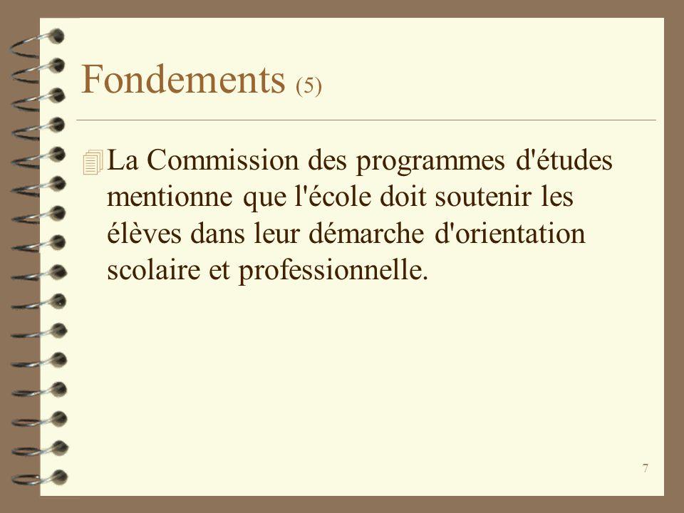 7 Fondements (5) 4 La Commission des programmes d'études mentionne que l'école doit soutenir les élèves dans leur démarche d'orientation scolaire et p