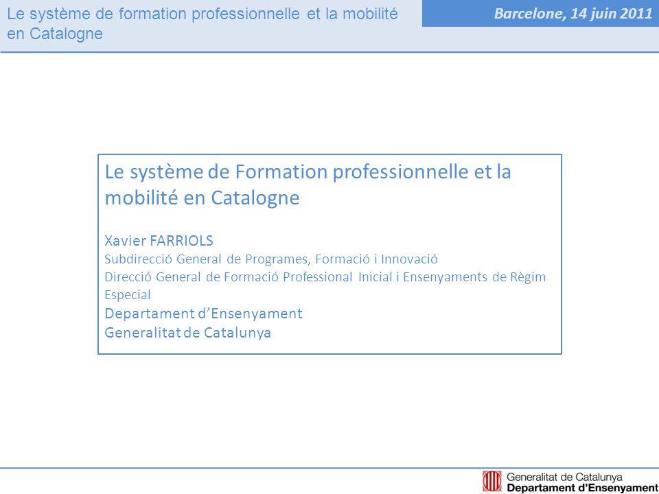 Le système de formation professionnelle et la mobilité en Catalogne Barcelone, 14 juin 2011 Système de FPStructure de GouvernementMobilité en Catalogne
