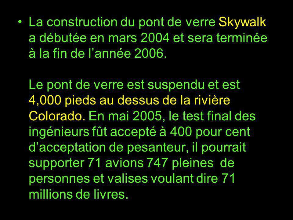 La construction du pont de verre Skywalk a débutée en mars 2004 et sera terminée à la fin de l'année 2006.