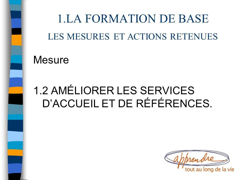1.LA FORMATION DE BASE LES MESURES ET ACTIONS RETENUES Mesure 1.2 AMÉLIORER LES SERVICES D'ACCUEIL ET DE RÉFÉRENCES.