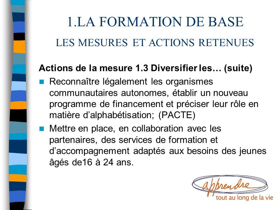 1.LA FORMATION DE BASE LES MESURES ET ACTIONS RETENUES Actions de la mesure 1.3 Diversifier les… (suite) Reconnaître légalement les organismes communa