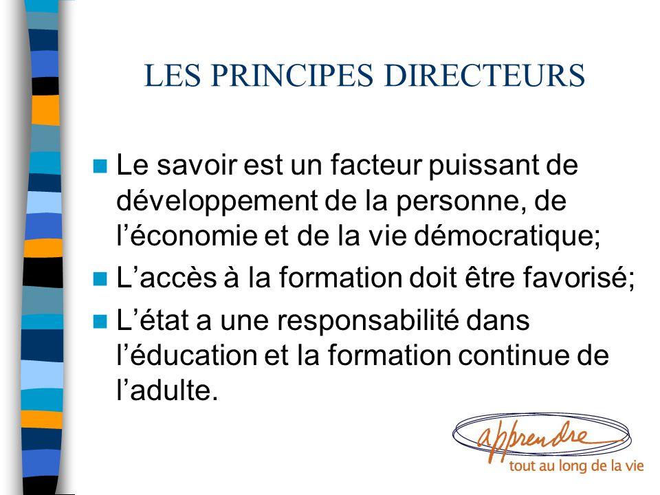 LES PRINCIPES DIRECTEURS Le savoir est un facteur puissant de développement de la personne, de l'économie et de la vie démocratique; L'accès à la form