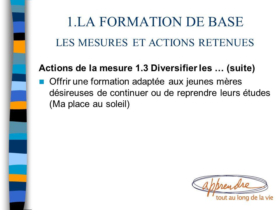 1.LA FORMATION DE BASE LES MESURES ET ACTIONS RETENUES Actions de la mesure 1.3 Diversifier les … (suite) Offrir une formation adaptée aux jeunes mère