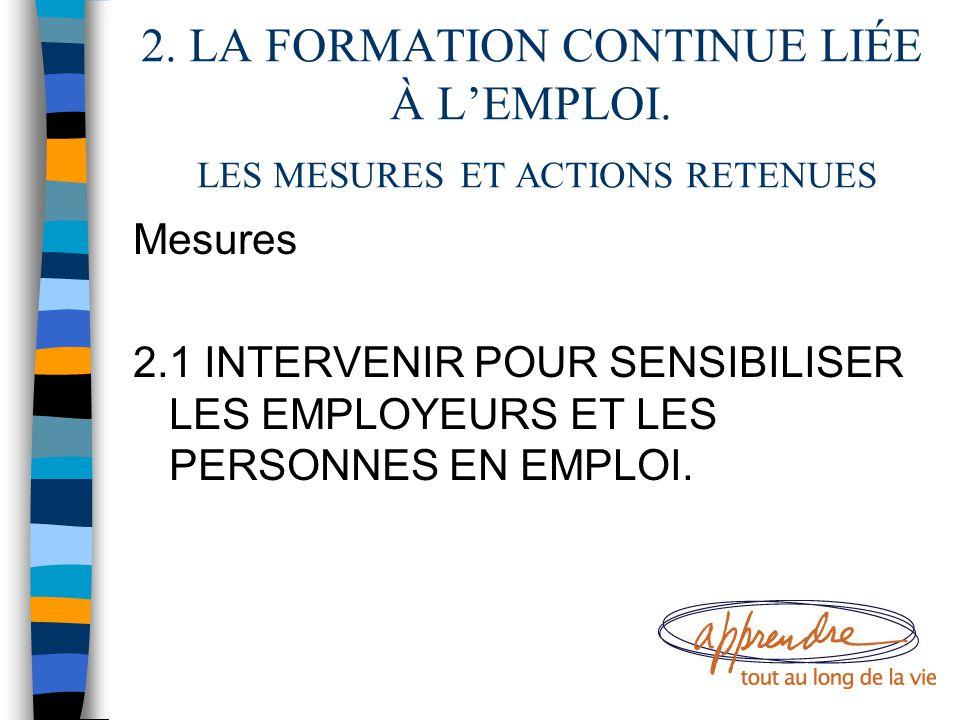 2. LA FORMATION CONTINUE LIÉE À L'EMPLOI. LES MESURES ET ACTIONS RETENUES Mesures 2.1 INTERVENIR POUR SENSIBILISER LES EMPLOYEURS ET LES PERSONNES EN