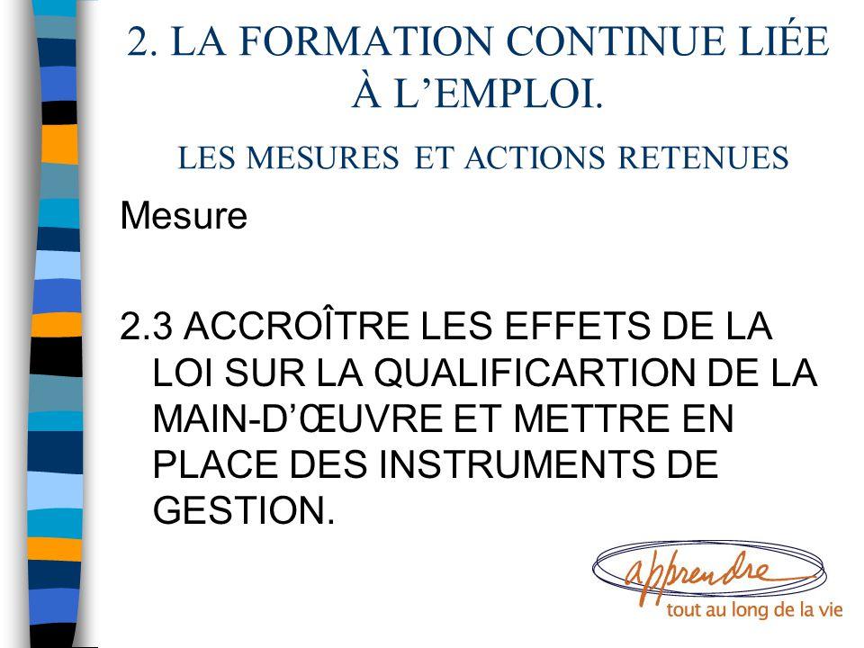2. LA FORMATION CONTINUE LIÉE À L'EMPLOI. LES MESURES ET ACTIONS RETENUES Mesure 2.3 ACCROÎTRE LES EFFETS DE LA LOI SUR LA QUALIFICARTION DE LA MAIN-D