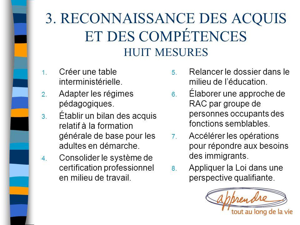 3. RECONNAISSANCE DES ACQUIS ET DES COMPÉTENCES HUIT MESURES 1. Créer une table interministérielle. 2. Adapter les régimes pédagogiques. 3. Établir un