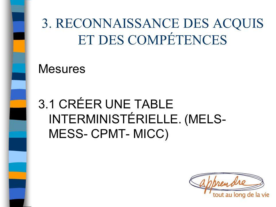 3. RECONNAISSANCE DES ACQUIS ET DES COMPÉTENCES Mesures 3.1 CRÉER UNE TABLE INTERMINISTÉRIELLE. (MELS- MESS- CPMT- MICC)