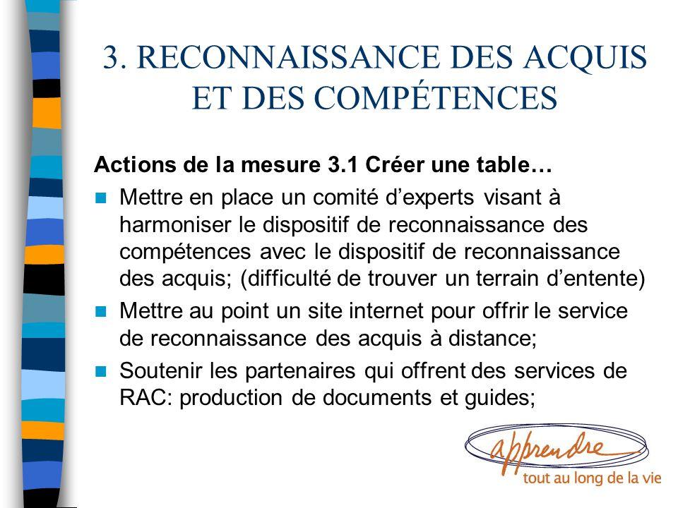 3. RECONNAISSANCE DES ACQUIS ET DES COMPÉTENCES Actions de la mesure 3.1 Créer une table… Mettre en place un comité d'experts visant à harmoniser le d