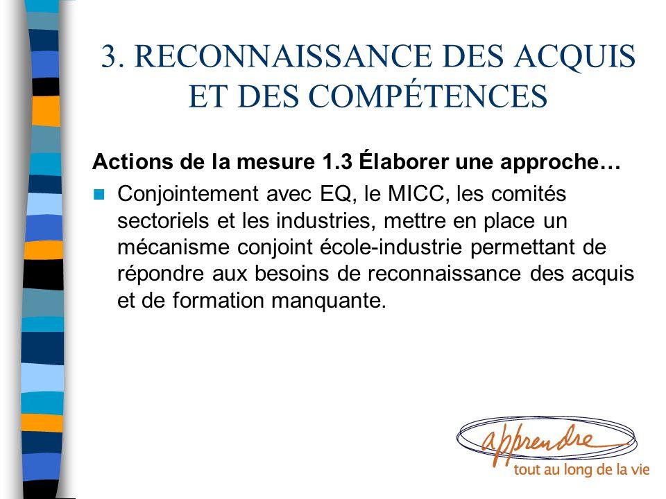 3. RECONNAISSANCE DES ACQUIS ET DES COMPÉTENCES Actions de la mesure 1.3 Élaborer une approche… Conjointement avec EQ, le MICC, les comités sectoriels