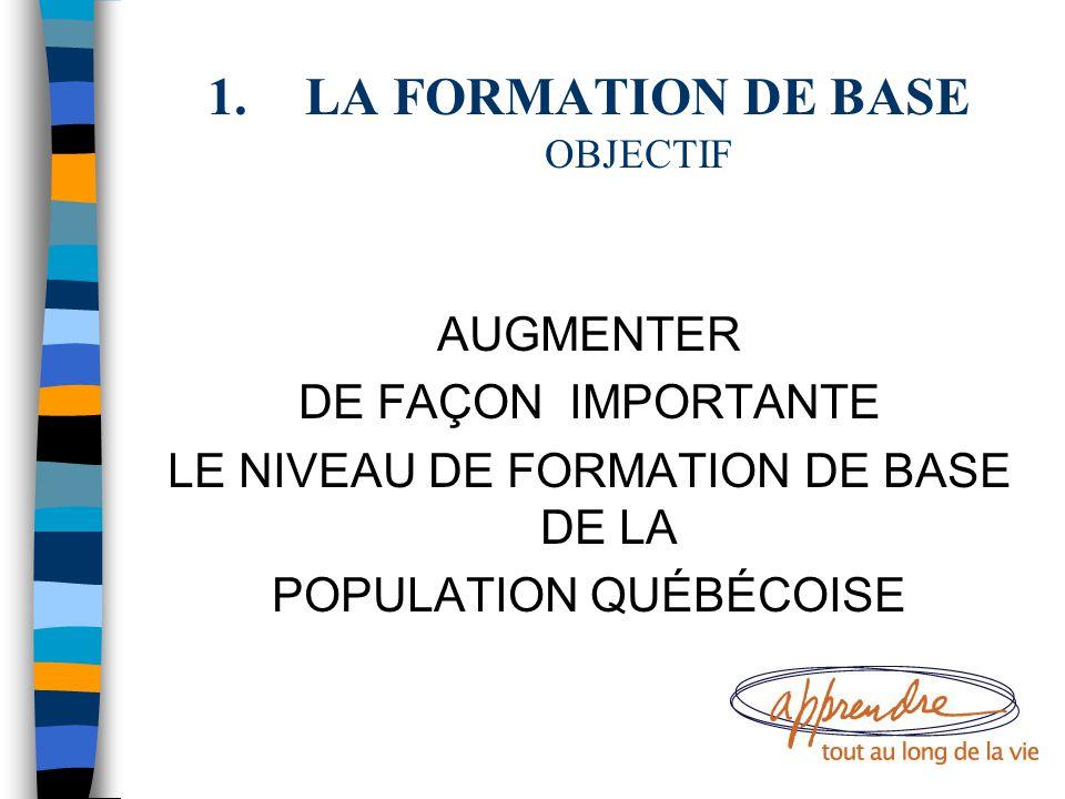 1.LA FORMATION DE BASE OBJECTIF AUGMENTER DE FAÇON IMPORTANTE LE NIVEAU DE FORMATION DE BASE DE LA POPULATION QUÉBÉCOISE