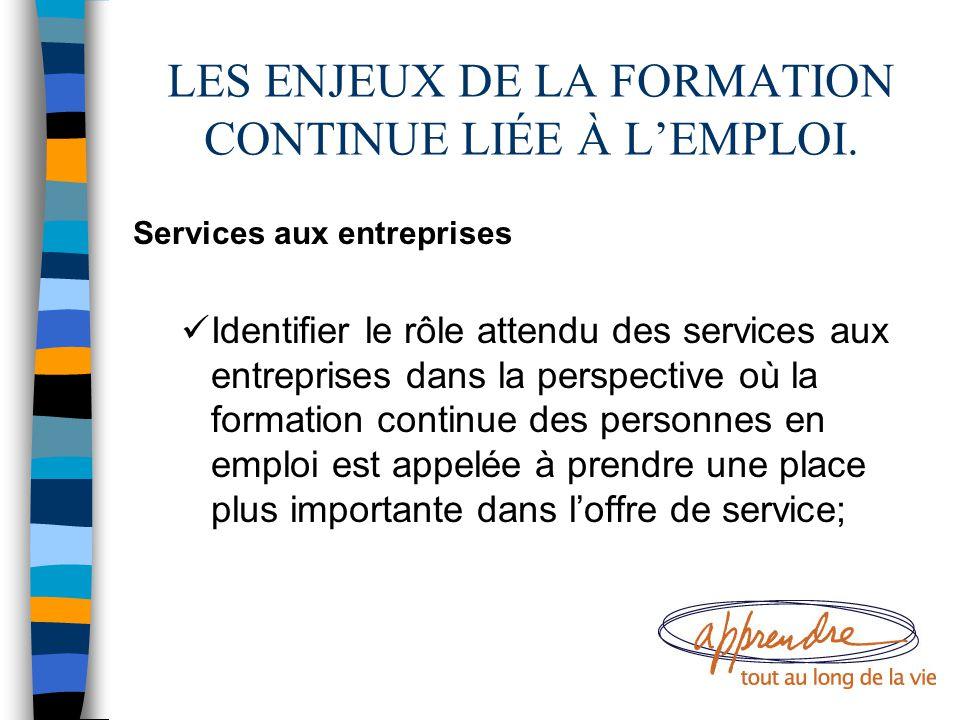 LES ENJEUX DE LA FORMATION CONTINUE LIÉE À L'EMPLOI. Services aux entreprises Identifier le rôle attendu des services aux entreprises dans la perspect