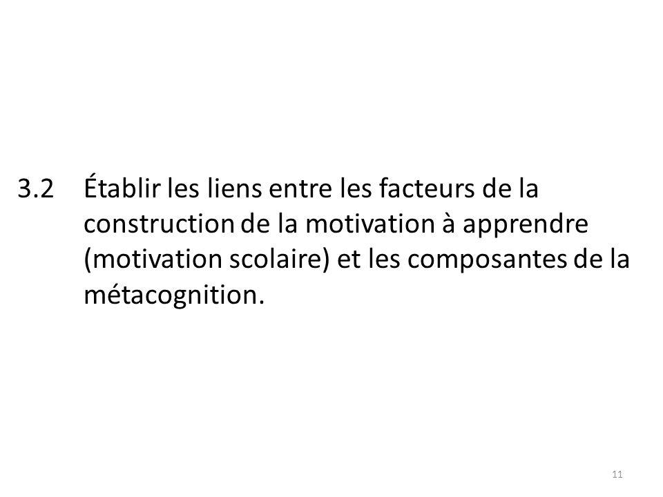 11 3.2 Établir les liens entre les facteurs de la construction de la motivation à apprendre (motivation scolaire) et les composantes de la métacognition.