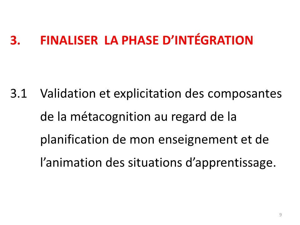 3.FINALISER LA PHASE D'INTÉGRATION 3.1 Validation et explicitation des composantes de la métacognition au regard de la planification de mon enseignement et de l'animation des situations d'apprentissage.