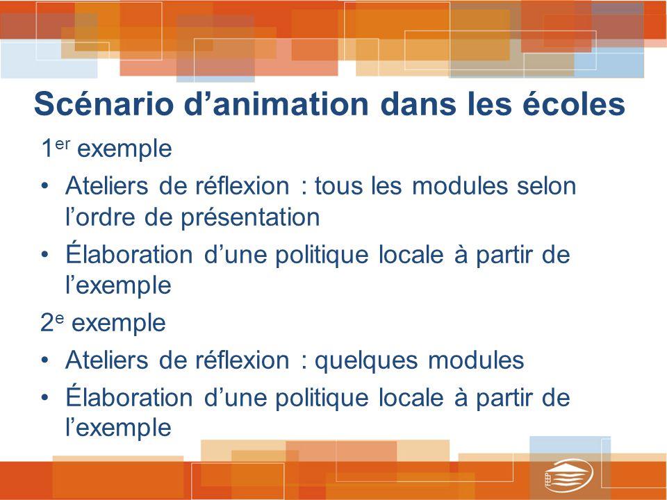 Scénario d'animation dans les écoles 1 er exemple Ateliers de réflexion : tous les modules selon l'ordre de présentation Élaboration d'une politique locale à partir de l'exemple 2 e exemple Ateliers de réflexion : quelques modules Élaboration d'une politique locale à partir de l'exemple