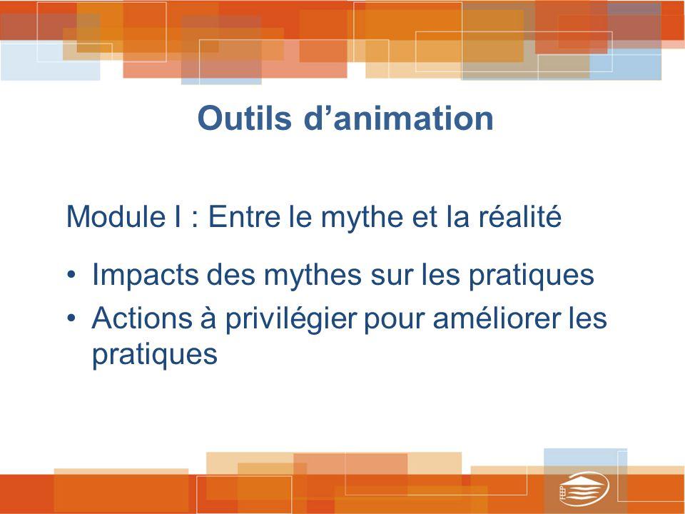 Outils d'animation Module I : Entre le mythe et la réalité Impacts des mythes sur les pratiques Actions à privilégier pour améliorer les pratiques