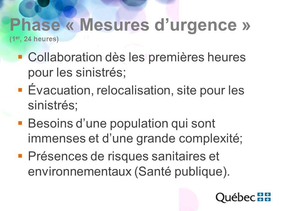 Phase « Mesures d'urgence » (1 er, 24 heures)  Collaboration dès les premières heures pour les sinistrés;  Évacuation, relocalisation, site pour les