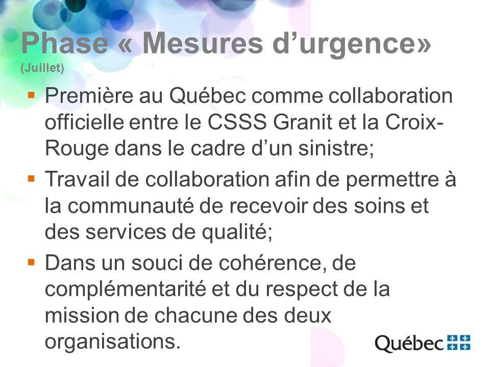 Phase « Mesures d'urgence» (Juillet)  Première au Québec comme collaboration officielle entre le CSSS Granit et la Croix- Rouge dans le cadre d'un sinistre;  Travail de collaboration afin de permettre à la communauté de recevoir des soins et des services de qualité;  Dans un souci de cohérence, de complémentarité et du respect de la mission de chacune des deux organisations.