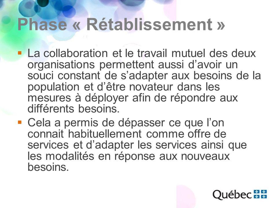 Phase « Rétablissement »  La collaboration et le travail mutuel des deux organisations permettent aussi d'avoir un souci constant de s'adapter aux besoins de la population et d'être novateur dans les mesures à déployer afin de répondre aux différents besoins.