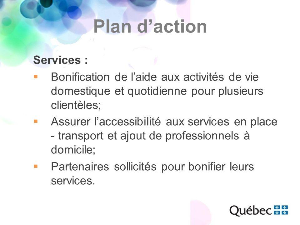 Services :  Bonification de l'aide aux activités de vie domestique et quotidienne pour plusieurs clientèles;  Assurer l'accessibilité aux services en place - transport et ajout de professionnels à domicile;  Partenaires sollicités pour bonifier leurs services.
