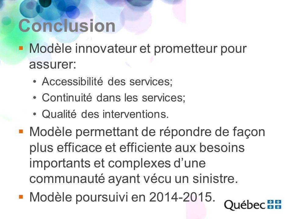 Conclusion  Modèle innovateur et prometteur pour assurer: Accessibilité des services; Continuité dans les services; Qualité des interventions.  Modè