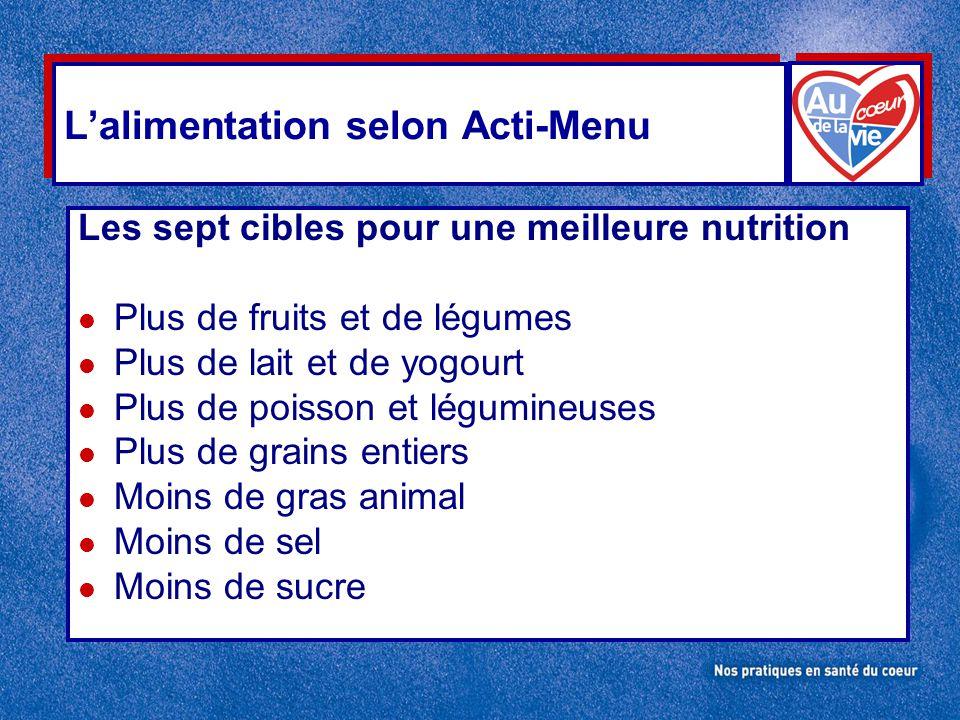 L'alimentation selon Acti-Menu Les sept cibles pour une meilleure nutrition l Plus de fruits et de légumes l Plus de lait et de yogourt l Plus de pois
