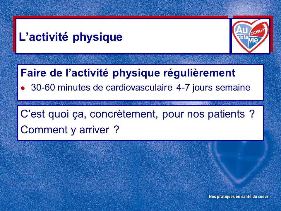 L'activité physique Faire de l'activité physique régulièrement l 30-60 minutes de cardiovasculaire 4-7 jours semaine C'est quoi ça, concrètement, pour