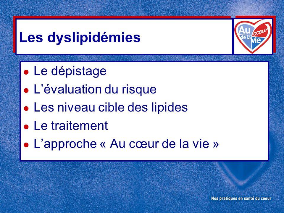 Les dyslipidémies l Le dépistage l L'évaluation du risque l Les niveau cible des lipides l Le traitement l L'approche « Au cœur de la vie »