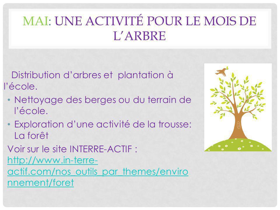 MAI: UNE ACTIVITÉ POUR LE MOIS DE L'ARBRE Distribution d'arbres et plantation à l'école.
