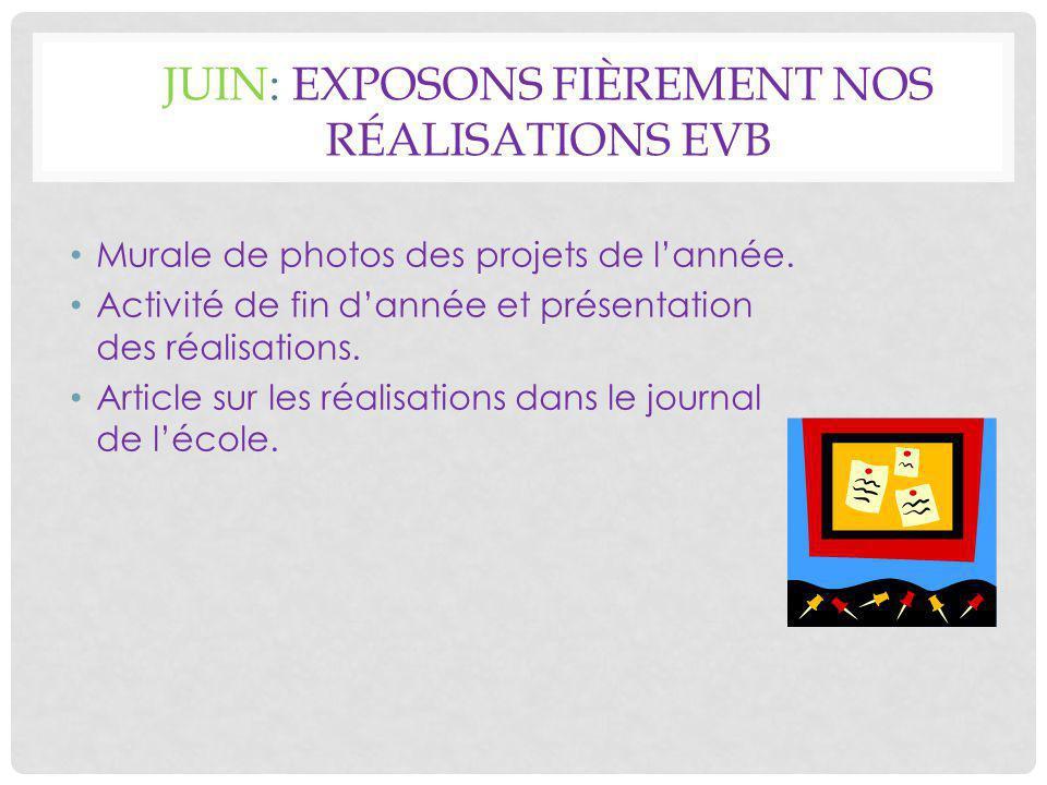 JUIN: EXPOSONS FIÈREMENT NOS RÉALISATIONS EVB Murale de photos des projets de l'année.