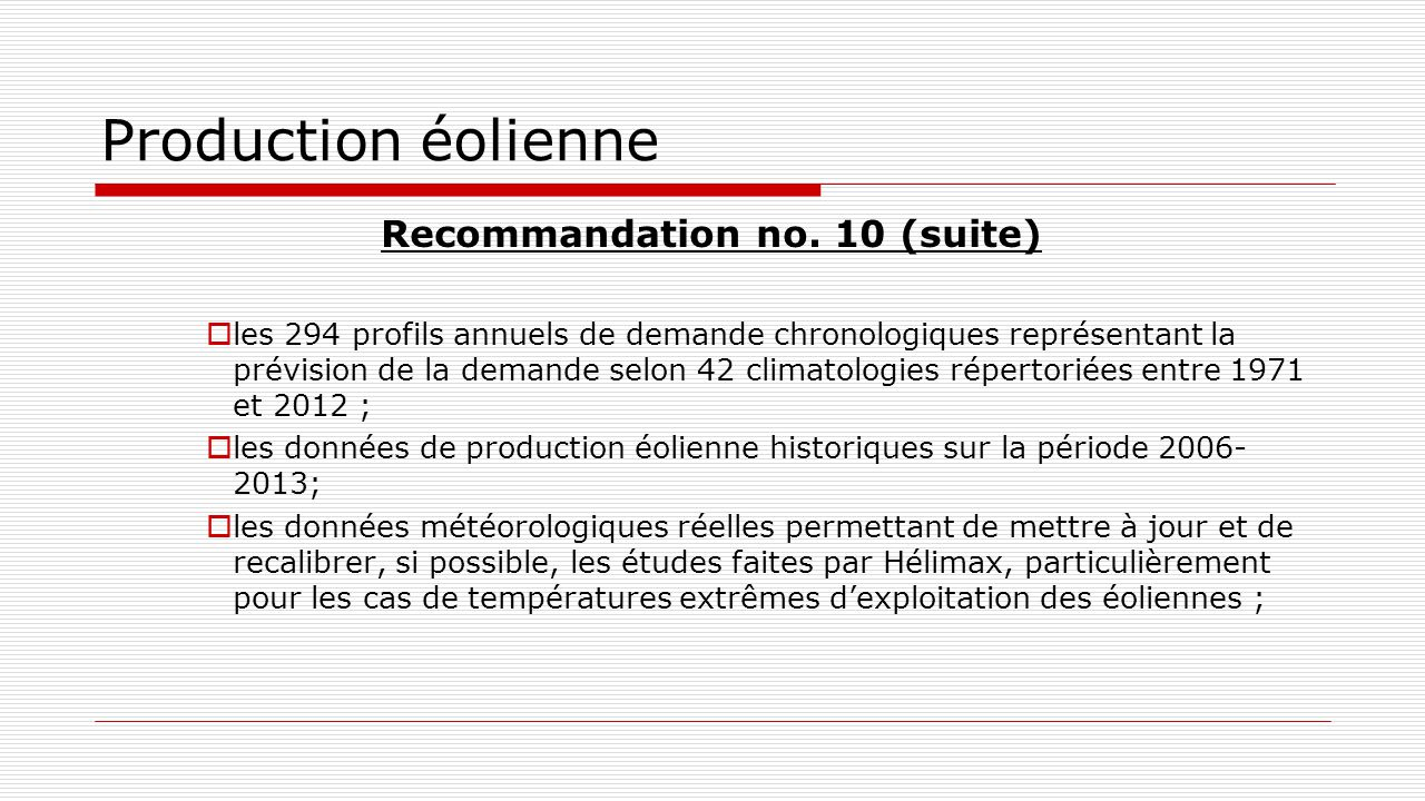 Production éolienne Recommandation no.