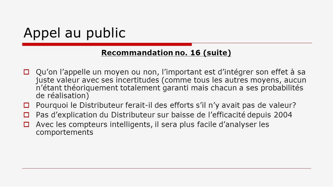 Appel au public Recommandation no. 16 (suite)  Qu'on l'appelle un moyen ou non, l'important est d'intégrer son effet à sa juste valeur avec ses incer