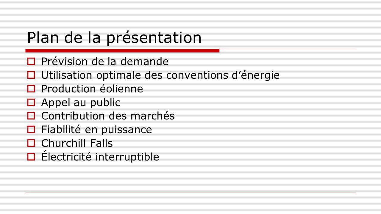 Plan de la présentation  Prévision de la demande  Utilisation optimale des conventions d'énergie  Production éolienne  Appel au public  Contribut