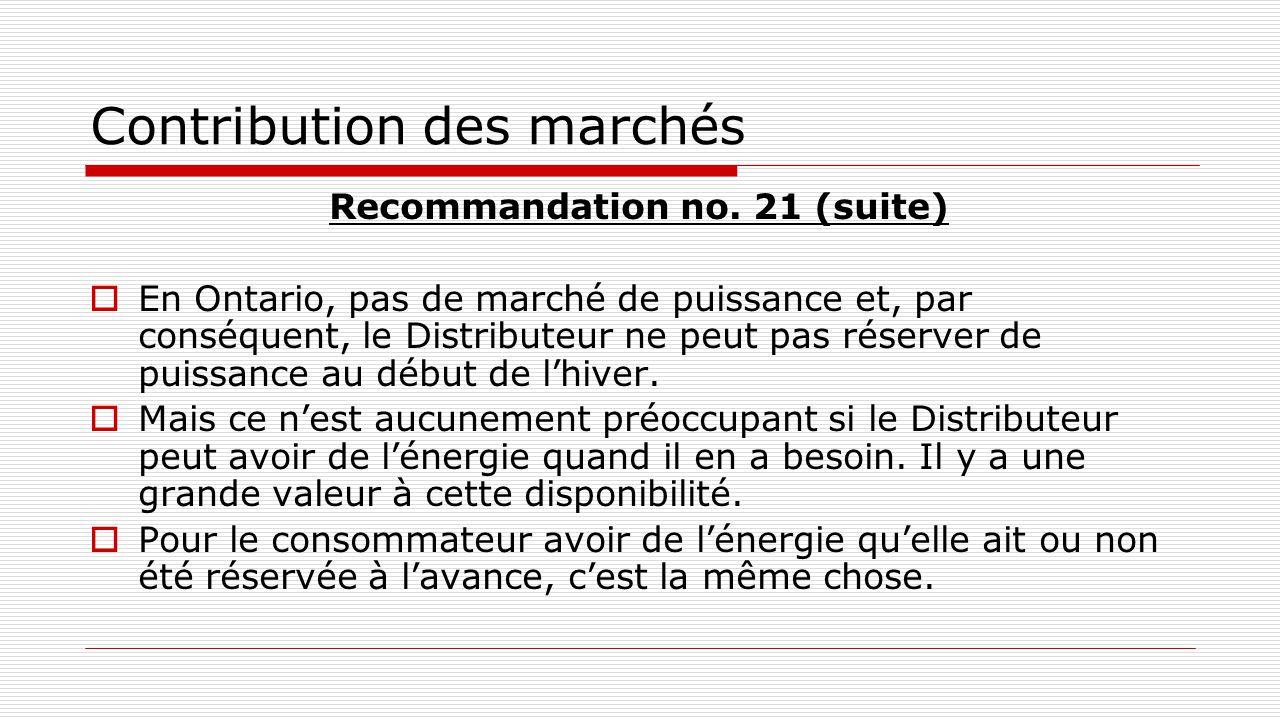 Contribution des marchés Recommandation no. 21 (suite)  En Ontario, pas de marché de puissance et, par conséquent, le Distributeur ne peut pas réserv