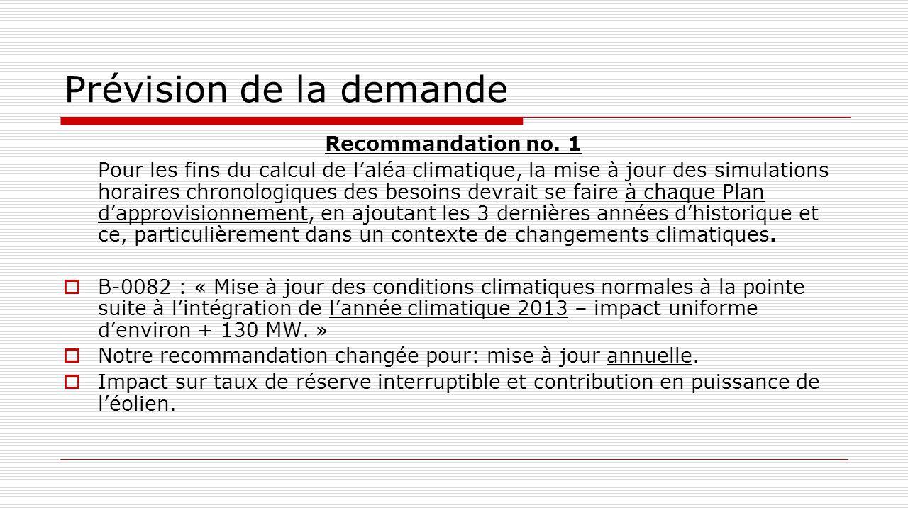 Prévision de la demande Recommandation no. 1 Pour les fins du calcul de l'aléa climatique, la mise à jour des simulations horaires chronologiques des