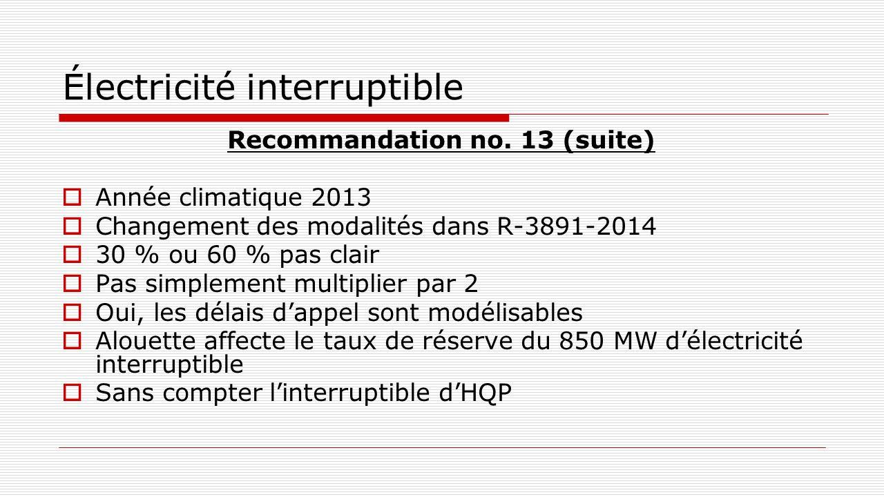 Électricité interruptible Recommandation no. 13 (suite)  Année climatique 2013  Changement des modalités dans R-3891-2014  30 % ou 60 % pas clair 