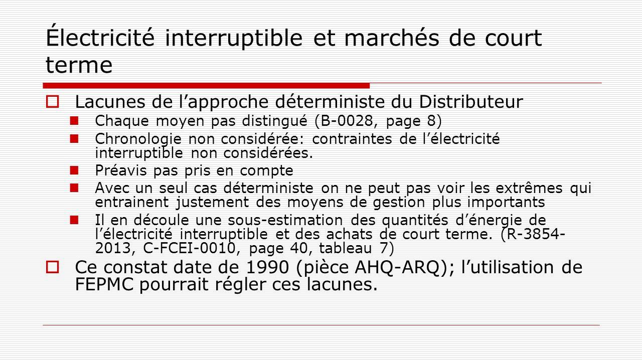 Électricité interruptible et marchés de court terme  Lacunes de l'approche déterministe du Distributeur Chaque moyen pas distingué (B-0028, page 8) C