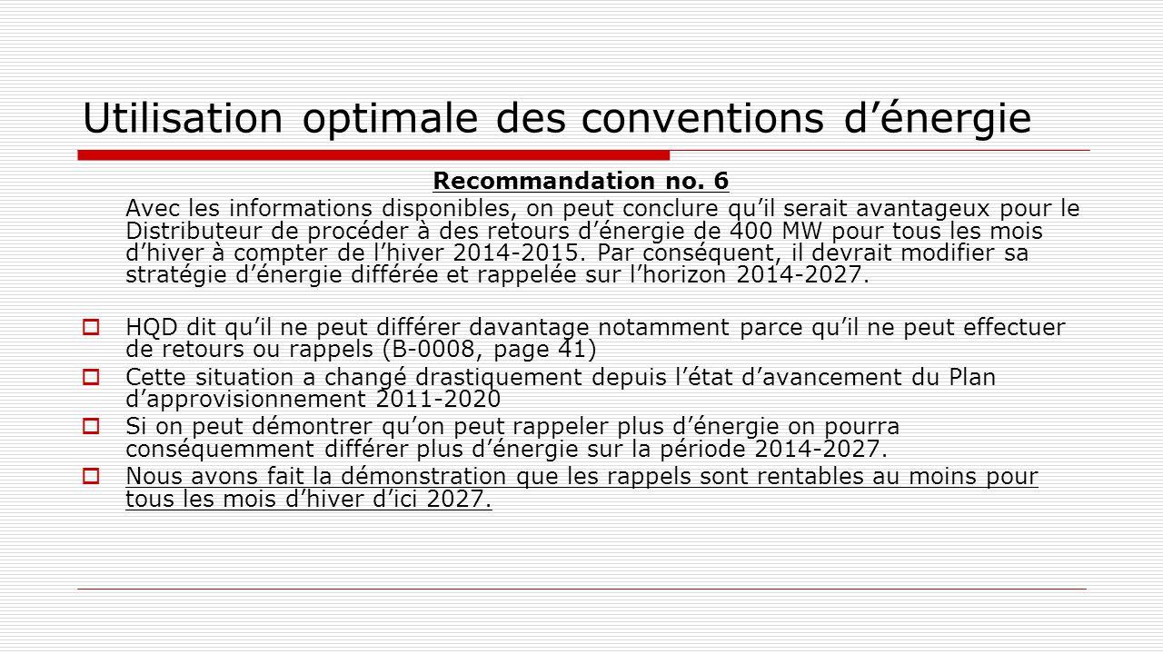 Utilisation optimale des conventions d'énergie Recommandation no. 6 Avec les informations disponibles, on peut conclure qu'il serait avantageux pour l