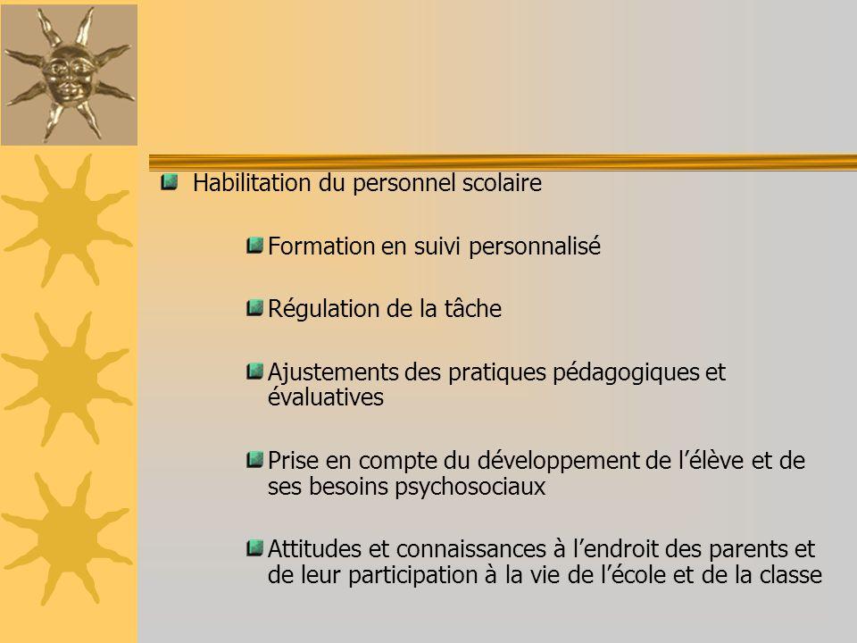 Habilitation du personnel scolaire Formation en suivi personnalisé Régulation de la tâche Ajustements des pratiques pédagogiques et évaluatives Prise