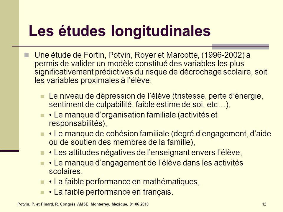Les études longitudinales Une étude de Fortin, Potvin, Royer et Marcotte, (1996-2002) a permis de valider un modèle constitué des variables les plus significativement prédictives du risque de décrochage scolaire, soit les variables proximales à l'élève: Le niveau de dépression de l'élève (tristesse, perte d'énergie, sentiment de culpabilité, faible estime de soi, etc…), Le manque d'organisation familiale (activités et responsabilités), Le manque de cohésion familiale (degré d'engagement, d'aide ou de soutien des membres de la famille), Les attitudes négatives de l'enseignant envers l'élève, Le manque d'engagement de l'élève dans les activités scolaires, La faible performance en mathématiques, La faible performance en français.