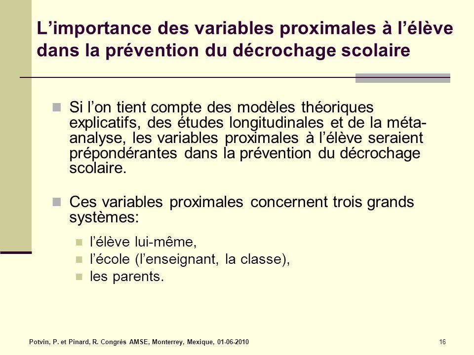 16 L'importance des variables proximales à l'élève dans la prévention du décrochage scolaire Si l'on tient compte des modèles théoriques explicatifs, des études longitudinales et de la méta- analyse, les variables proximales à l'élève seraient prépondérantes dans la prévention du décrochage scolaire.