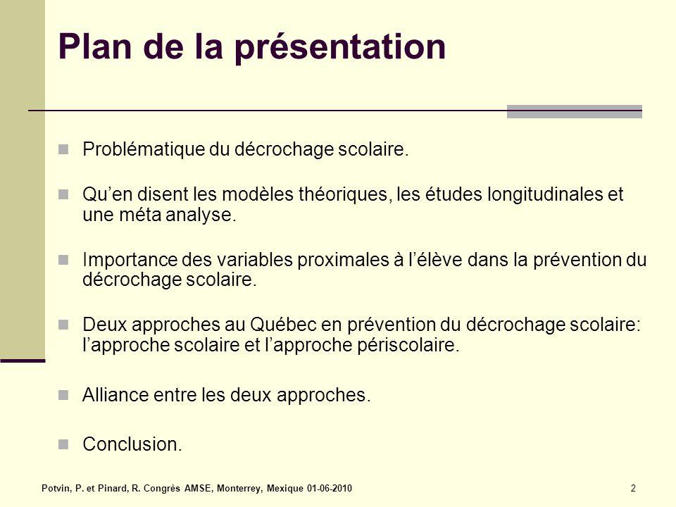 Potvin, P. et Pinard, R. Congrès AMSE, Monterrey, Mexique 01-06-20102 Plan de la présentation Problématique du décrochage scolaire. Qu'en disent les m