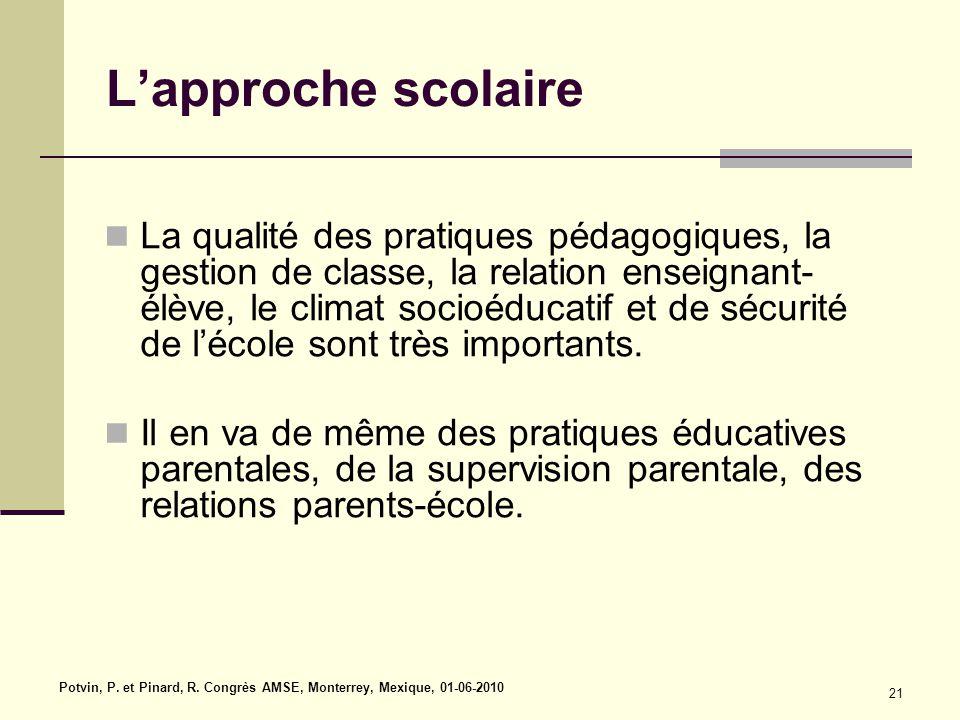 L'approche scolaire La qualité des pratiques pédagogiques, la gestion de classe, la relation enseignant- élève, le climat socioéducatif et de sécurité de l'école sont très importants.