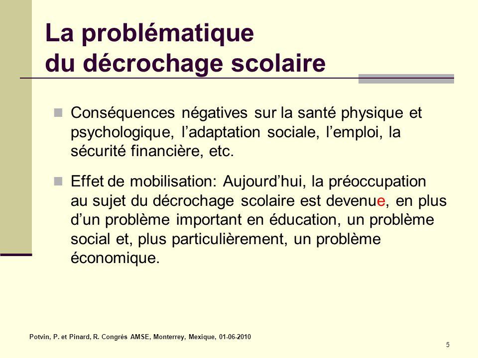 Potvin, P. et Pinard, R. Congrès AMSE, Monterrey, Mexique, 01-06-2010 5 La problématique du décrochage scolaire Conséquences négatives sur la santé ph