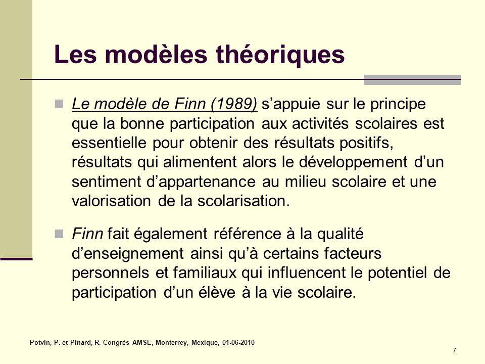7 Les modèles théoriques Le modèle de Finn (1989) s'appuie sur le principe que la bonne participation aux activités scolaires est essentielle pour obtenir des résultats positifs, résultats qui alimentent alors le développement d'un sentiment d'appartenance au milieu scolaire et une valorisation de la scolarisation.