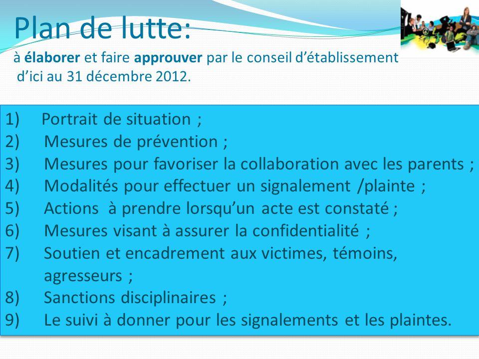 1) Portrait de situation ; 2)Mesures de prévention ; 3)Mesures pour favoriser la collaboration avec les parents ; 4)Modalités pour effectuer un signal