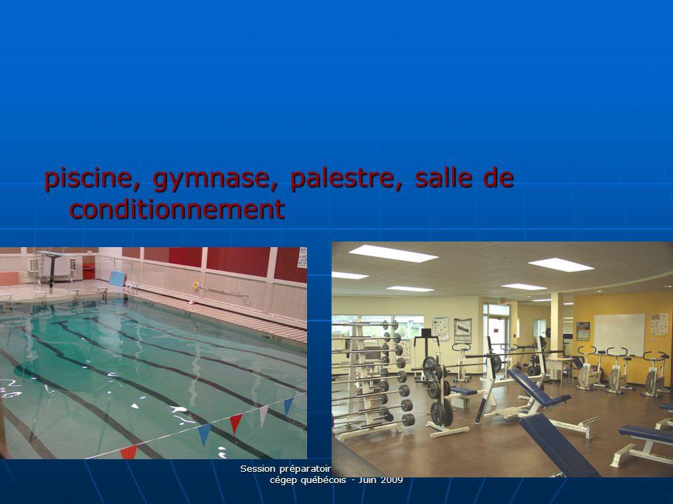Session préparatoire aux études dans un cégep québécois - Juin 2009 piscine, gymnase, palestre, salle de conditionnement
