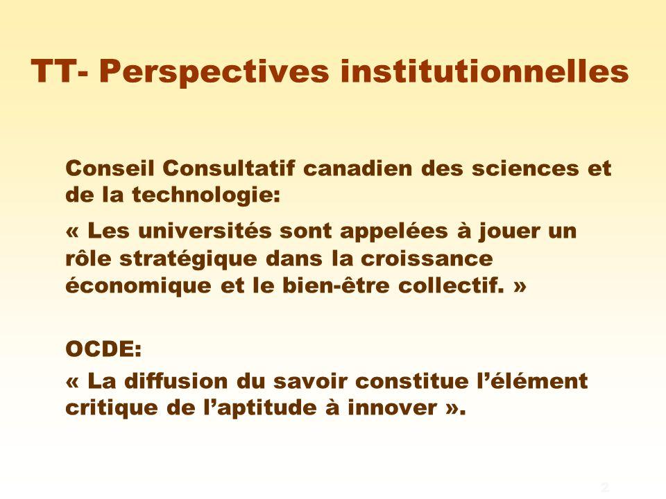 3 TT- Perspectives institutionnelles L'innovation l Accroît la richesse et la diversification économique l Crée des emplois bien rémunérés l Améliore l'espérance de vie, la santé et l'environnement Les universités ont la capacité de développer un capital scientifique immense.
